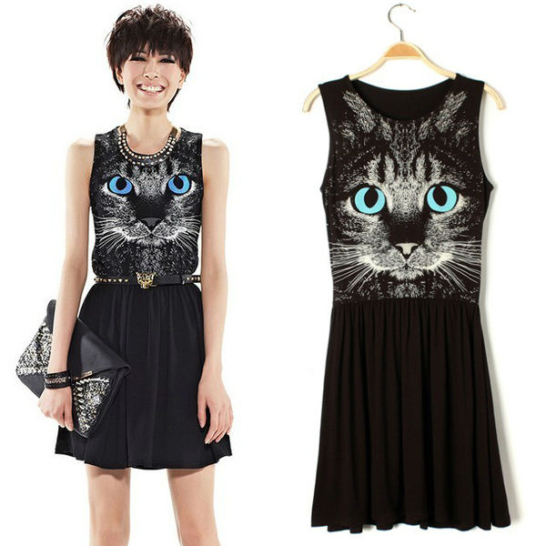 chic-women-animal-tiger-cat-kitten-face-print-sleeveless-one-piece-black-skater-dress-free-shipping